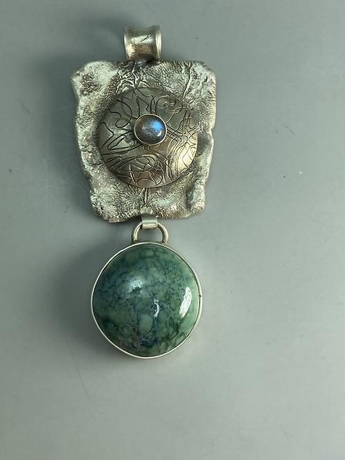 Mottled copper glazed pendant