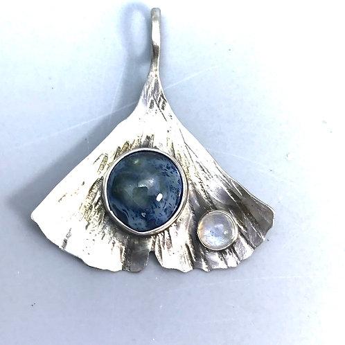Ginkgo pendant-mottled blues