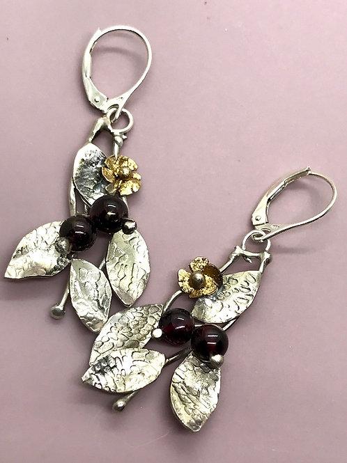 Garnet and leaf earrings