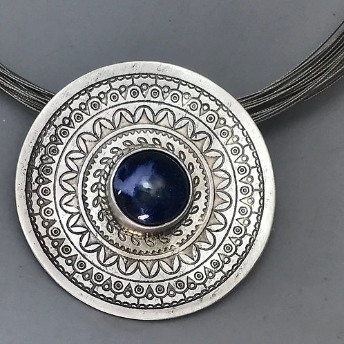 Etched Round Pendant with Blues