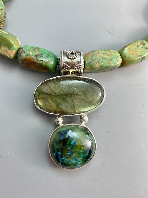 Turquoise, Labradorite and Stoneware Necklace