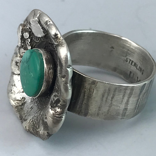 Sterling Silver Ring-Adjustable with Arizona Turquoise