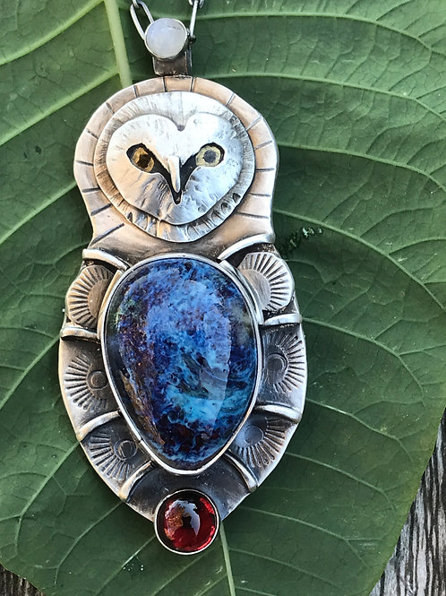 Owl Pendant/Pin on Sterling Chain