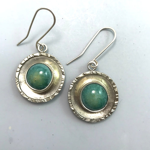 Long Round Rim Earrings-Turquoise with copper