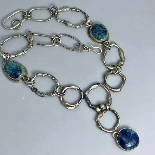 Torch formed link necklace with turquoise/cobalt