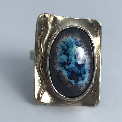 Mottled Blues with Browns Ring-adjustable