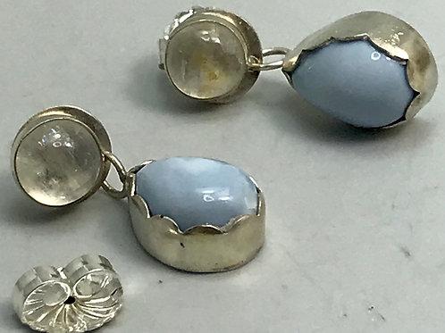 Moonstone and Owyhee opal earrings