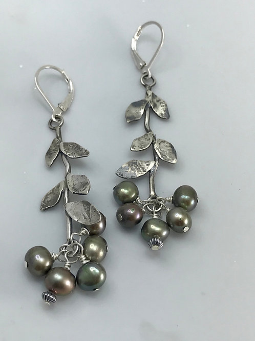 Vine Earrings with Pearl Cluster