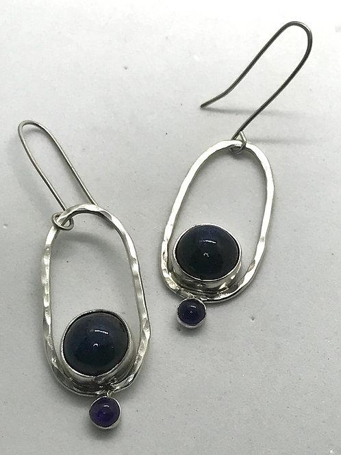 Long Oval Hoops-cobalt & amethyst