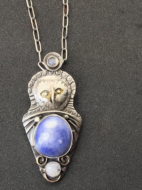 Lavender Blue Small Owl Pendant