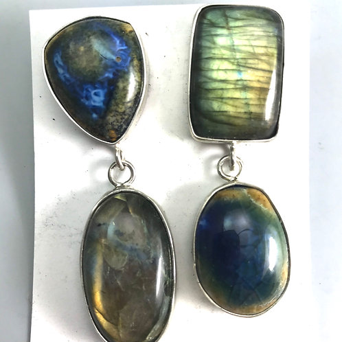 Labradorite and Amber/Blues earrings