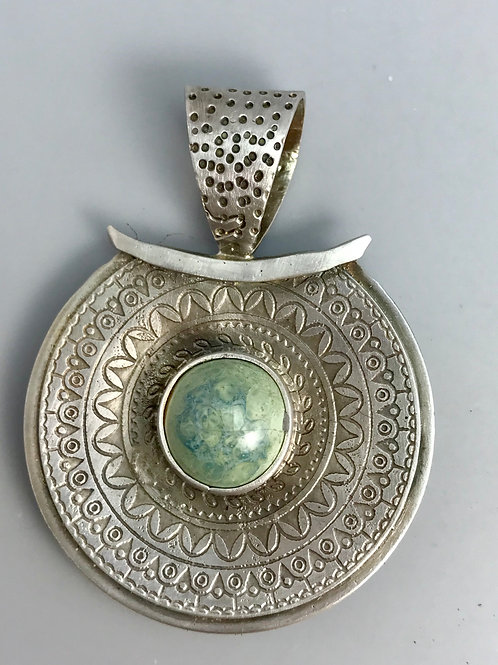 Etched Pendant with Misty Green