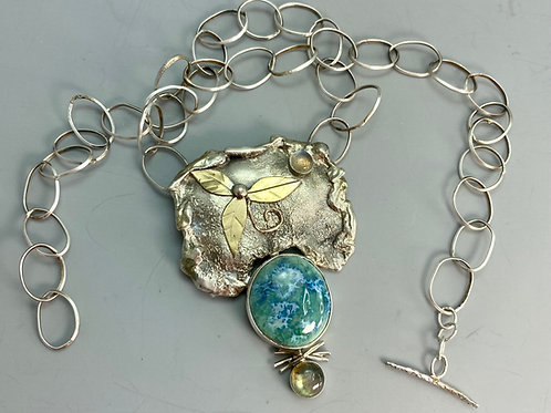 Sterling with gold leaves necklace