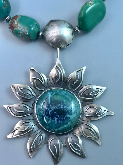 Sunflower Necklace with turquoise