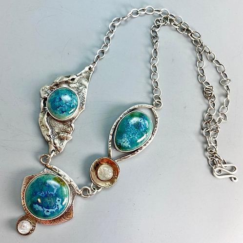 OOAK 36 3 Stone necklace
