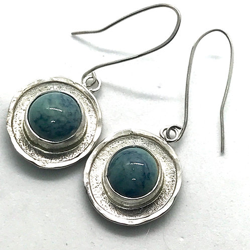 Textured rim earring- turquoise with cobalt
