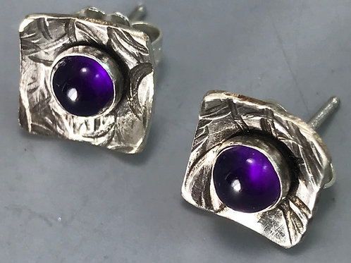 Small Sterling Studs with Amethyst