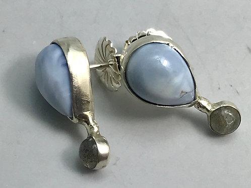 Owyhee opal and labradorite earrings