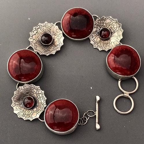 Peachbloom Ruffle Link Bracelet