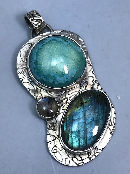 Labradorite and Turquoise Pottery Pendant