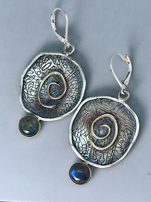 Textured Rim Earrings with Labradorite