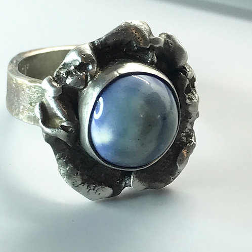 Chunky Ring with lavender blue clouds