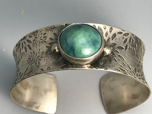 Etched Flower Cuff with Turquoise