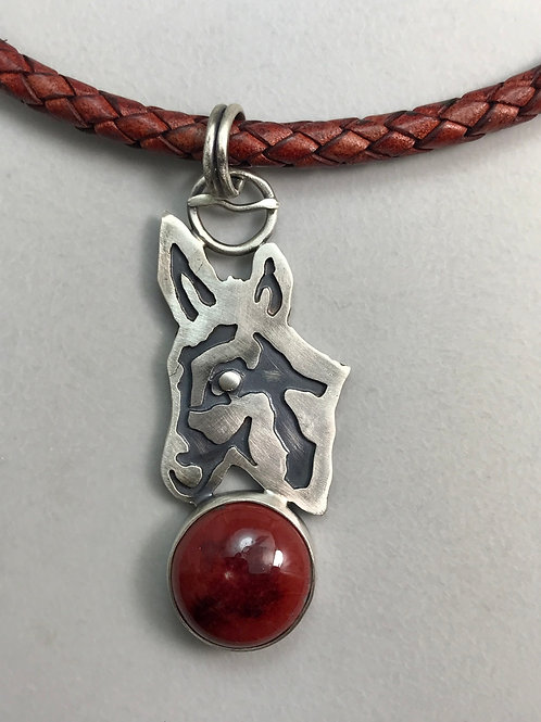 Donkey Pendant on a leather cord