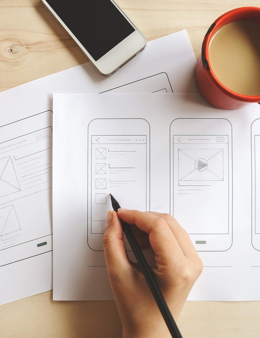prancheta de estudo de user experience ux design