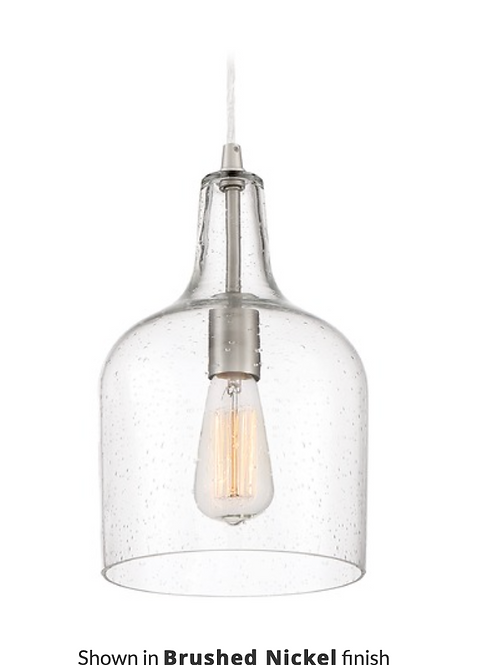 Seeded Glass Pendant Light Brushed Nickel Quoizel Piccolo Pendant