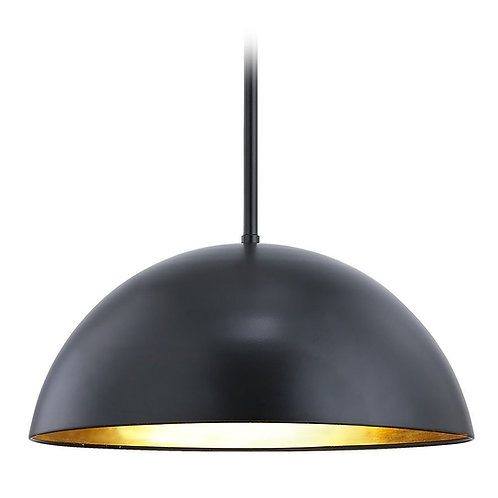 Design Classics Moro Matte Black and Gold Leaf Pendant with Dome Shade