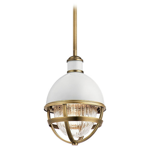 Tollis Small Natural Brass / Gloss White 1-Light Pendant with Clear Ribbed Glass