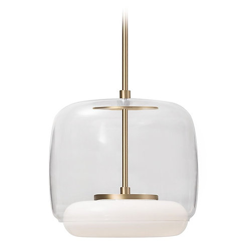 Modern Vintage Brass LED Pendant with Clear Shade 3000K 1325LM