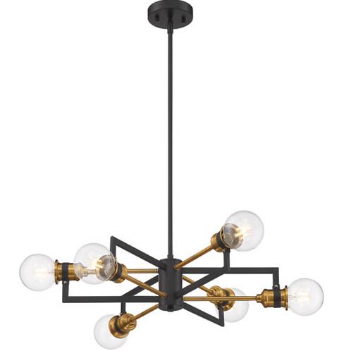 Nuvo Lighting Intention Warm Brass / Black Chandelier