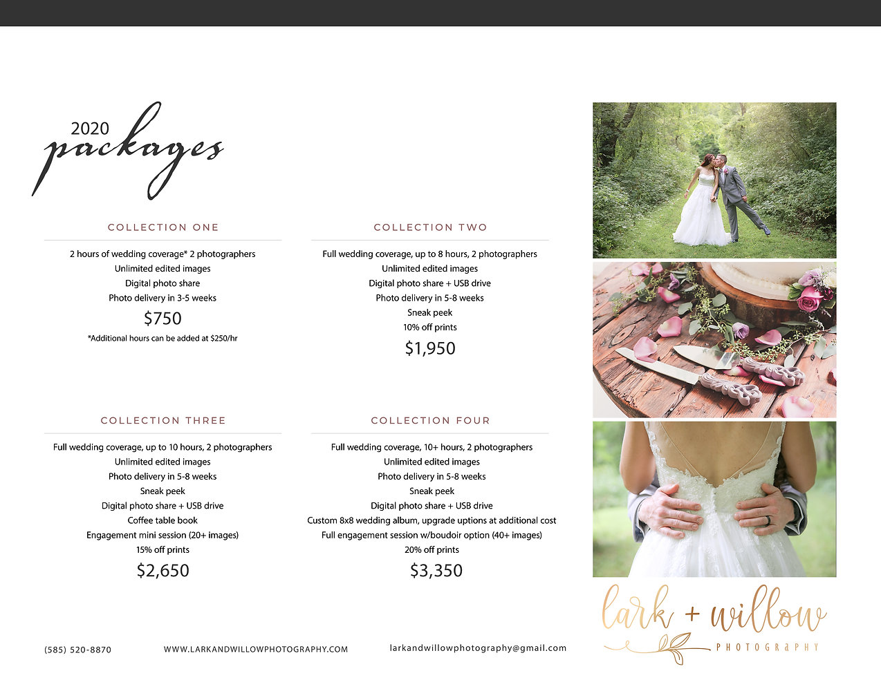 2020 lark + willow weddings - packages a
