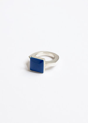 Square enamel ring - Blue
