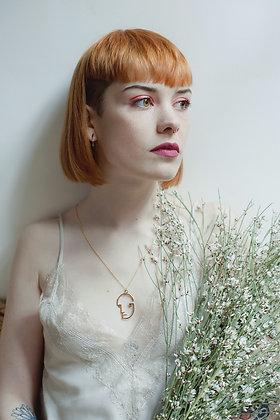 Bauhaus face Necklace - Vermeil