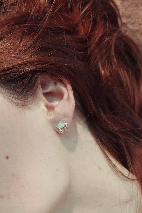 Boucles d'oreilles demi lune et chaines