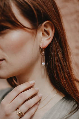 Asymetric pearls earrings - Plated gold