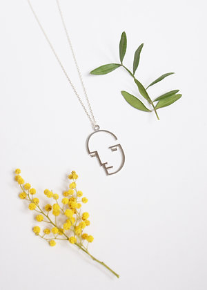 Bauhaus face Necklace - Sterling silver