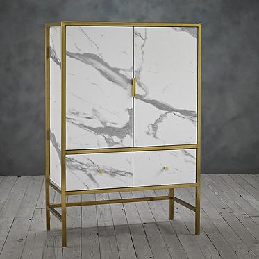 Monaco Cocktail Cabinet - Faux Marble White
