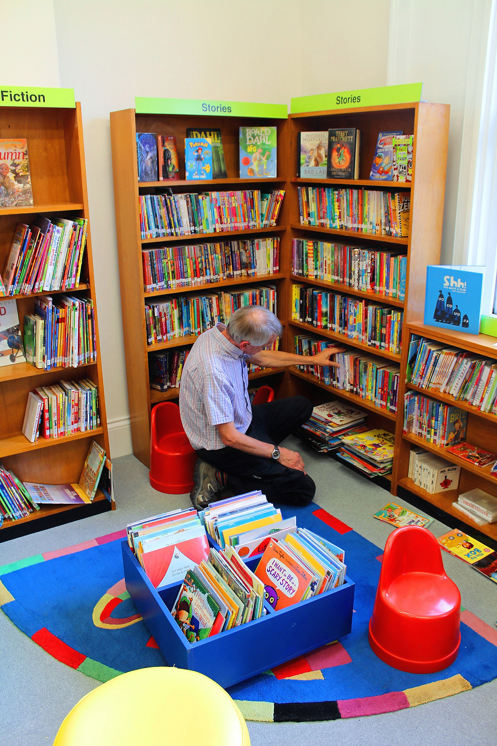 A volunteer tidies the children's books section