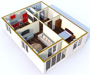 Двухкомнатная квартира 58 кв.м.
