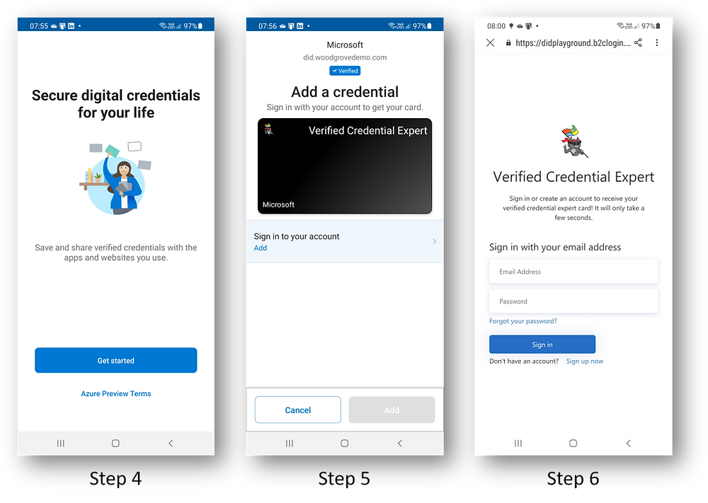 Screenshots of Microsoft Authenticator app as a VC is issued via a B2C ID Token