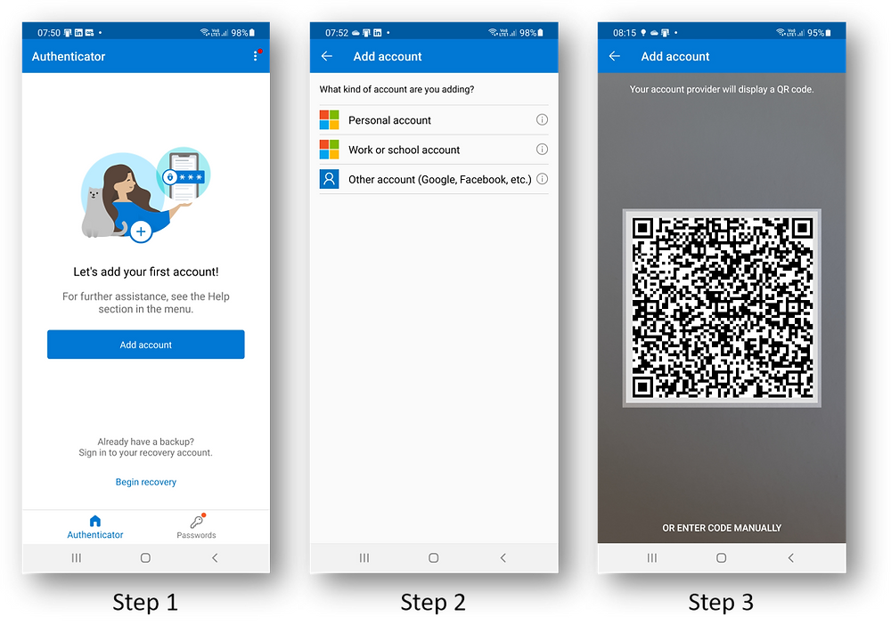 Screenshots from the Microsoft Authenticator app going through the issuance of a Verifiable Credential