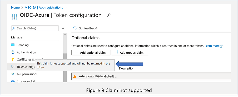 Image showing invalid claims definition in Azure AD