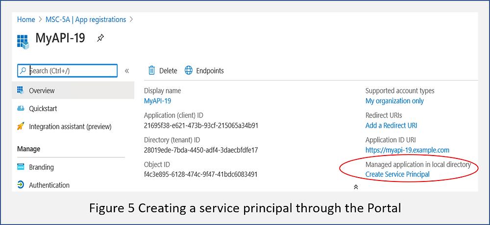 Adding a service principal through the Azure AD portal
