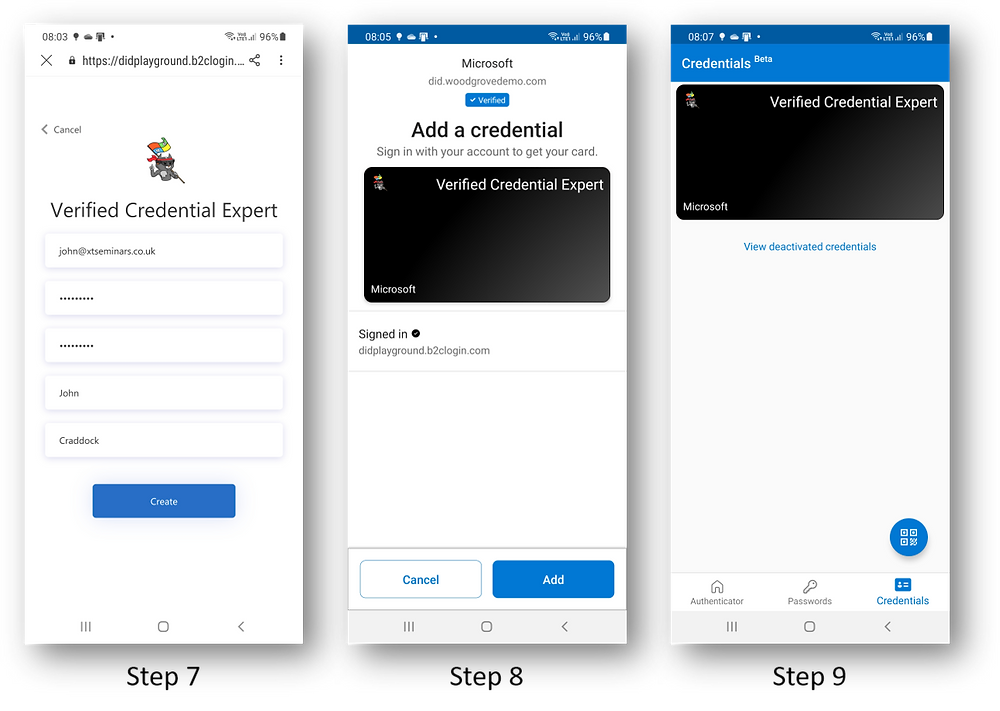 Screenshots showing a VC being added to the Microsoft Authenticator