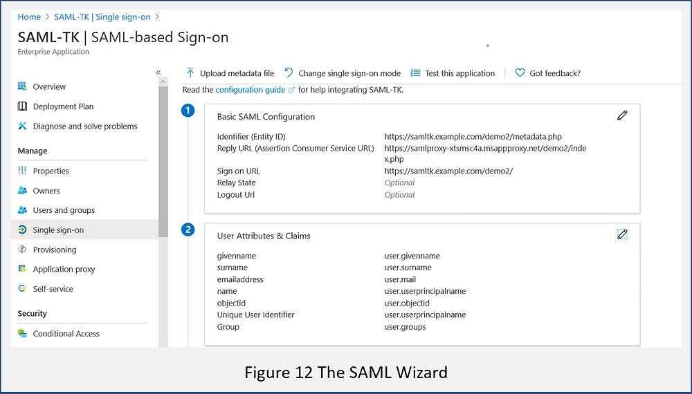 The Azure AD SAML configuration wizard