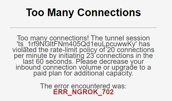 A message from Ngrok when the connections exceed 20 per minute